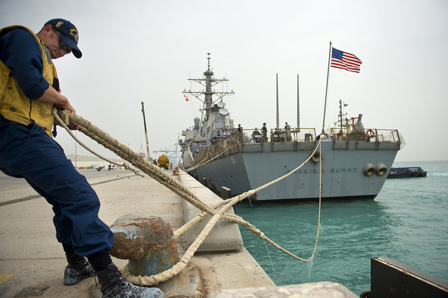 The guided-missile destroyer USS Arleigh Burke arrives for a port visit in Manama, Bahrain. From the Official US Navy Flickr page. CC-ND - 2.0 mAY 13, 2014