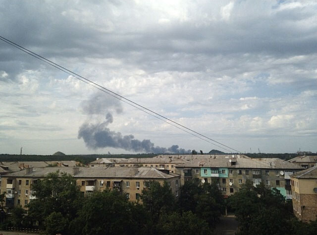 The skyline over eastern Ukraine, where a plane carrying 395 people was shot down. Image distributed anonymously online.