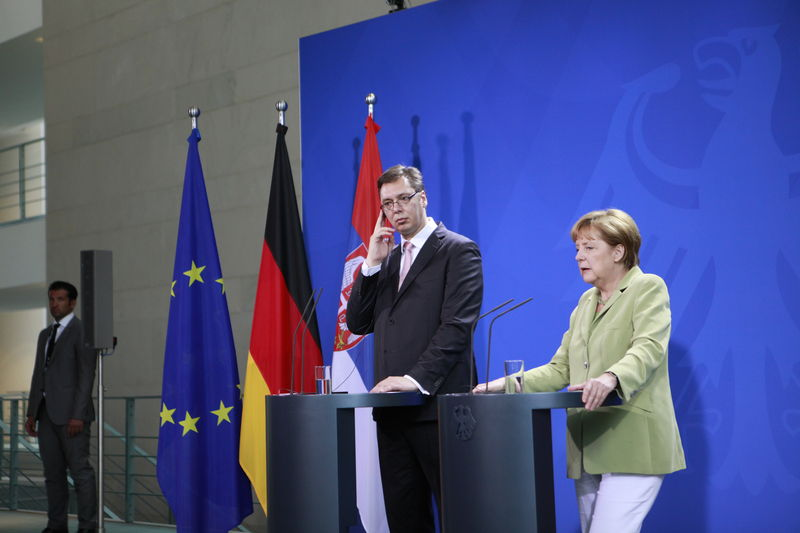Serbian Prime Minister Aleksandar Vucic meets with German Chancellor Angela Merkel in Berlin, June 2014. Photo by Simone Kuhlmey, Demotix © (June 11, 2014).