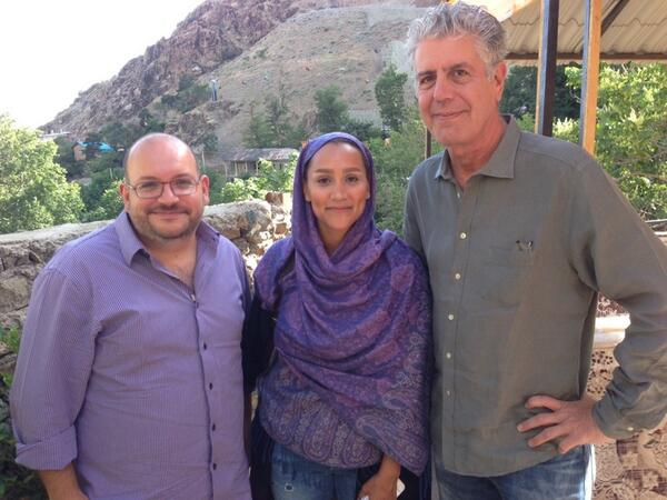 "Photo tweeted by Jason Rezaian's Twitter account on June 10. ""Great conversation w/ @Bourdain & @YeganehSalehi in Darband, Tehran. Looking forward to #partsunknown #iran episode"""