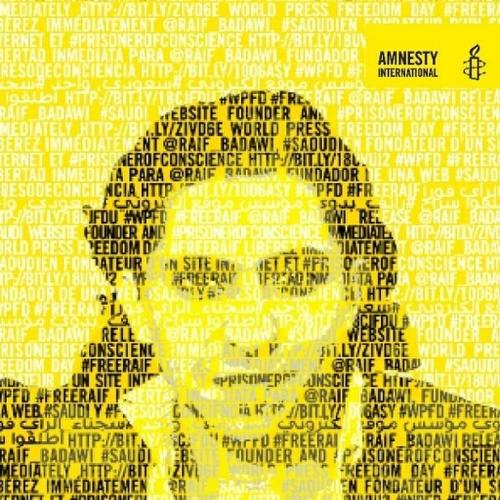Raif Badawi campaign image by Amnesty International.