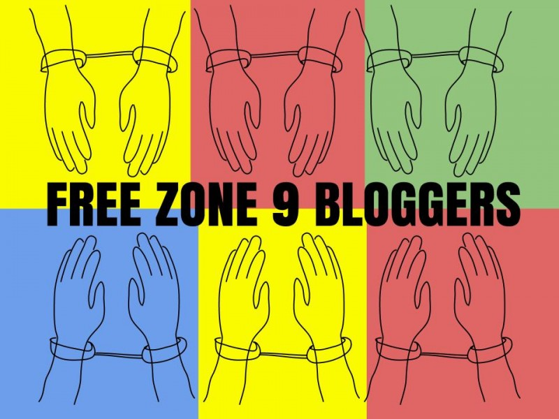 Free Zone9 Bloggers campaign image. Created by Hugh D'Andrade, remixed by Hisham Almiraat.