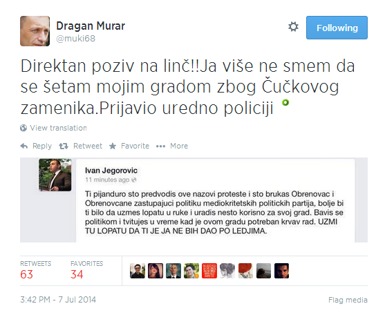 A tweet from activist Dragan Murar includes a screenshot of Deputy Mayor Ivan Jegorović's threatening Facebook message.