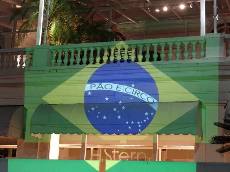 "The Brazilian flag reads ""bread and circus"" instead of ""order and progress""."