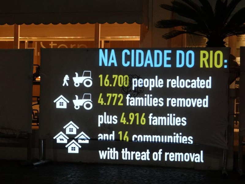 The collective projected on the wall some figures of Cup-related evictions in Rio de Janeiro.