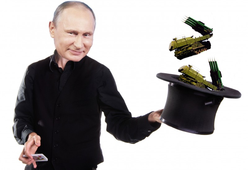 Is the Kremlin intentionally promoting false conspiracy theories about BUK missiles? Images mixed by Kevin Rothrock.