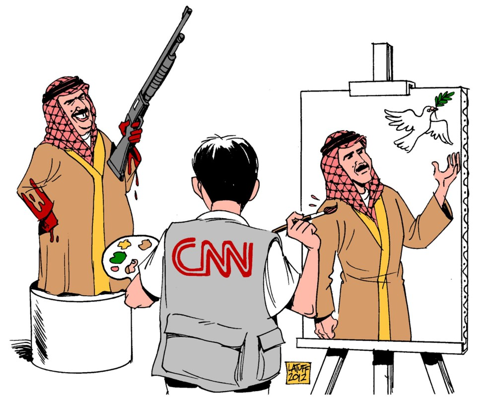 This illustration originally created by Carlos Latuff, a cartoonist, artist and activist based in Rio de Janeiro, Brazil, was heavily shared amongst Israeli users on Facebook over the past month.