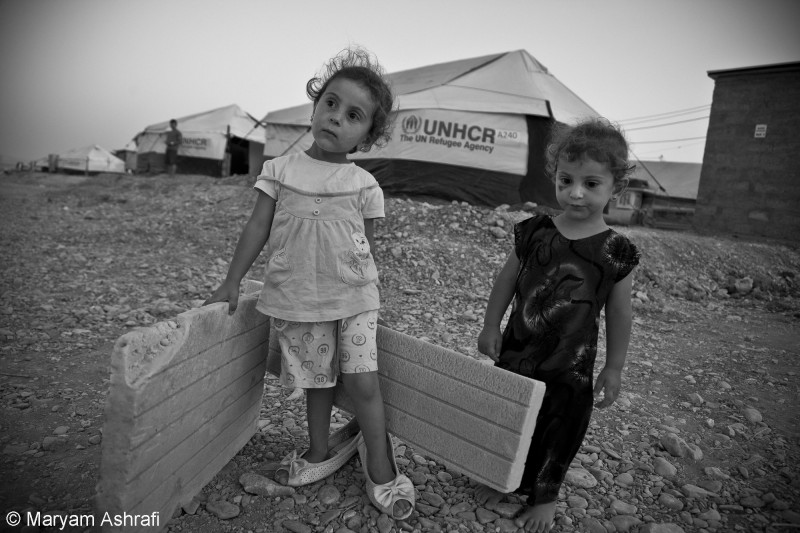 Maryam captures Syrian children at a UN refugee camp in the Iraqi Kurdistan Arbat camp, July 2014.