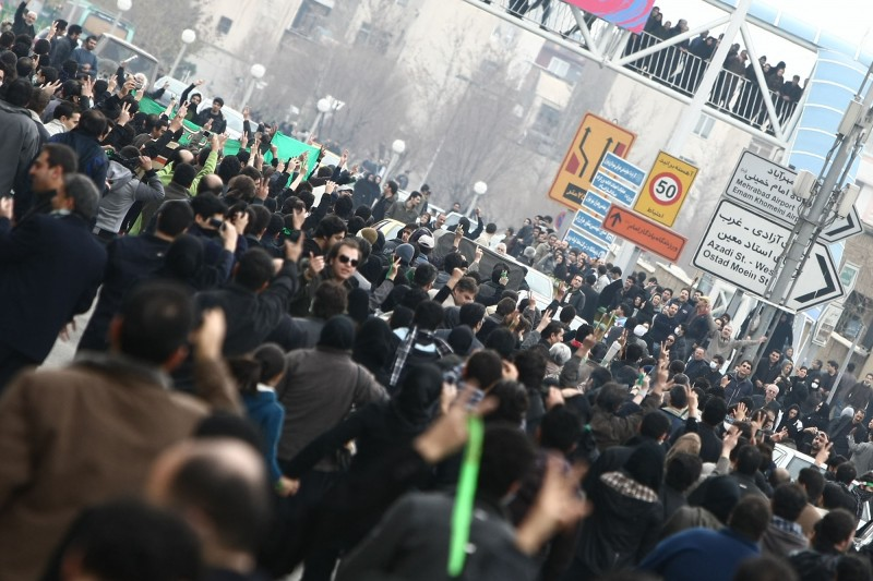 Anti-government protesters battle in the streets with riot police armed with shields, batons and tear gas in  Tehran, Iran, on 27 Dec., 2009. Millions took the streets in the months following the 2009 elections. Photo by A.A. Copyright Demotix