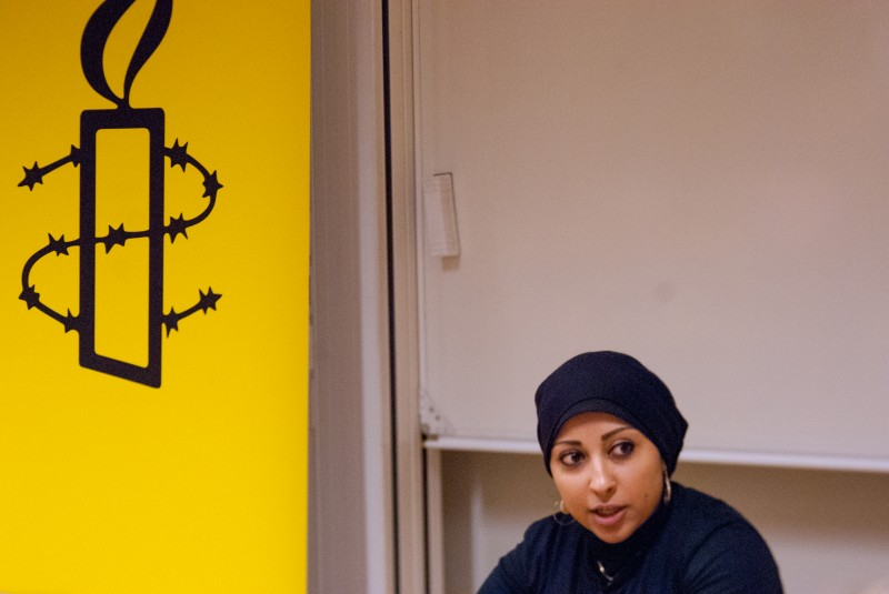 Bahraini human rights activist Maryam Al Khawaja has been denied entry to her country – and has gone on a hunger strike at the airport.  Photo by:  Julia Reinhart. Copyright: Demotix