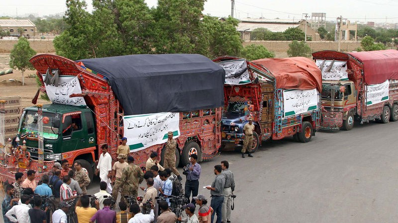 Relief Goods consignment from Pakistan Army being dispatched for IDPs of North Waziristan. Image by ppiimages. Copyright Demotix (3/7/2014)