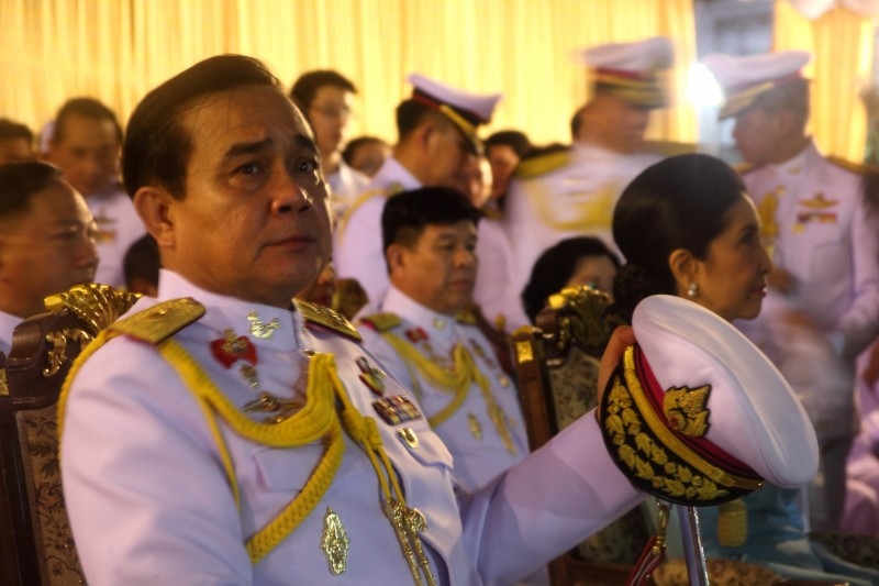 National Council for Peace and Order leader Gen. Prayuth Chan-Ocha during a ceremony for Queen Sirikit's 82nd birthday on Aug. 12, 2014. Photo by John Vincent. Copyright Demotix