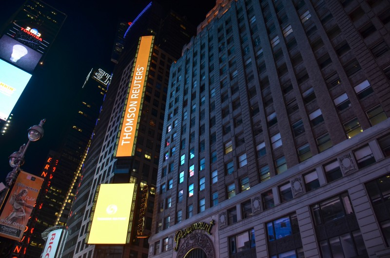 Thomson Reuters in Times Square, New York. Photo by Flickr user m01229. CC BY 2.0