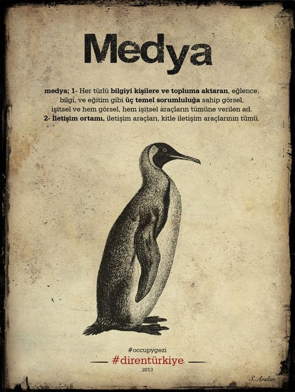A depiction of Turkey's media as a penguin. Shared via a Gezi Park Pinterest account.