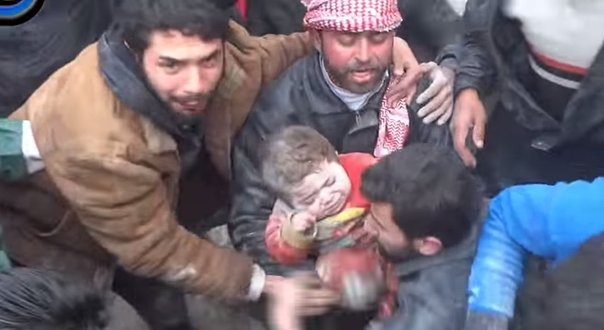 A screenshot of a YouTube video by Nour Media Center showing the rescue operation