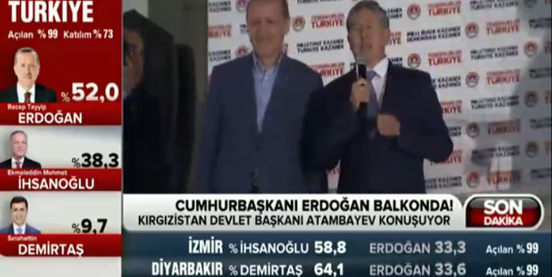 Atambayev celebrates his Turkish counterpart's victory. Screenshot from YouTube video uploaded by Zorbey Medya.