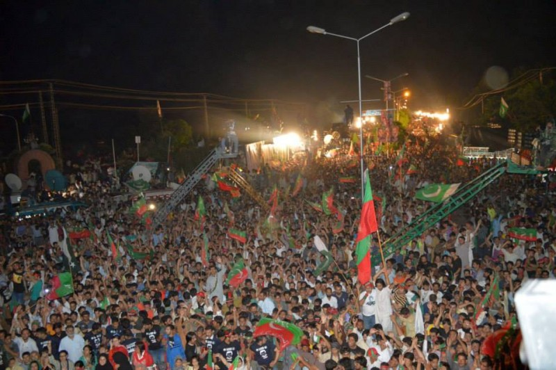PTI protesters at the Aabpara Chowk in Islamabad on 16 Aug. 2014. Photo by Asadwarraich. CC BY-SA 4.0