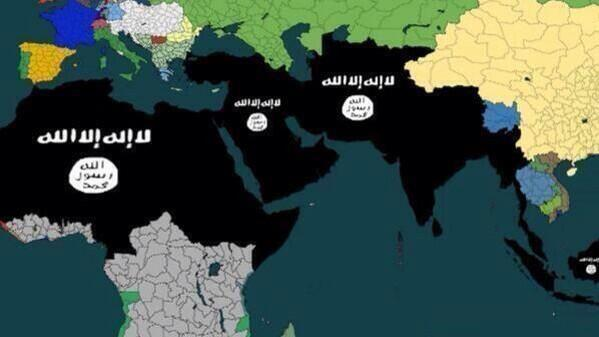 This map allegedly showing the expanses the ISIS plan to annex has gone viral. Source: Unknown