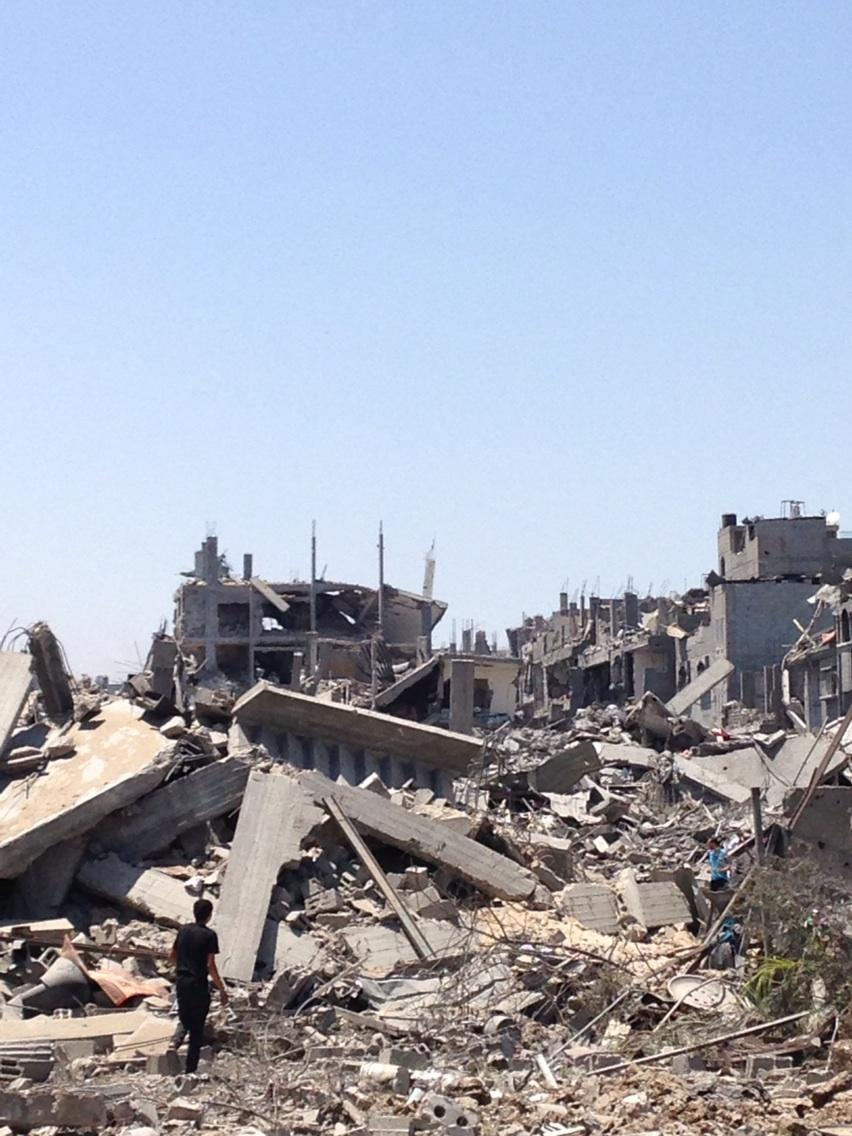 "Washington Post's @BoothWilliam  tweets, ""Whole blocks of apartment houses destroyed in Shijaiyah. Scale is far far greater than previous Gaza wars."""