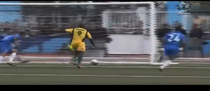 A screenshot of Cameroonian striker for JSK Kabylie Albert Ebossé  scroring a goal.