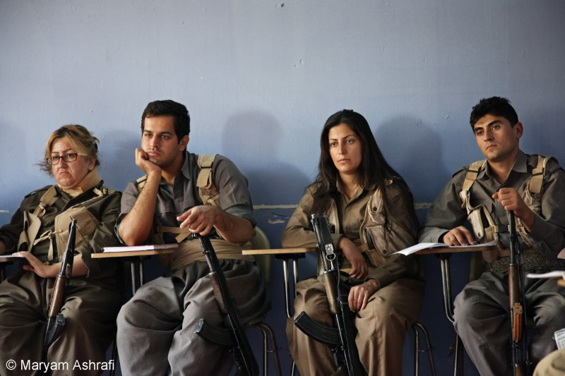 Kurdish peshmergas during their politic theory training course inside the military training camp of Komala party of Iranian Kurdistan. This was during Maryam's 2012 stay in Sulaymaniyah, Kurdistan.