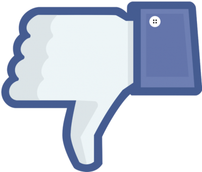 Facebook thumbs down. Image via Wikimedia Commons, licensed to public domain.