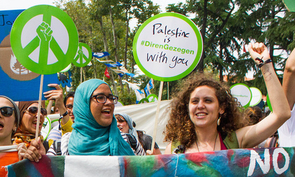 Palestinian environmental activist, Muna Dajani, during the Global Power Shift march held in Istanbul, June 2013. Photo credit: 350.org