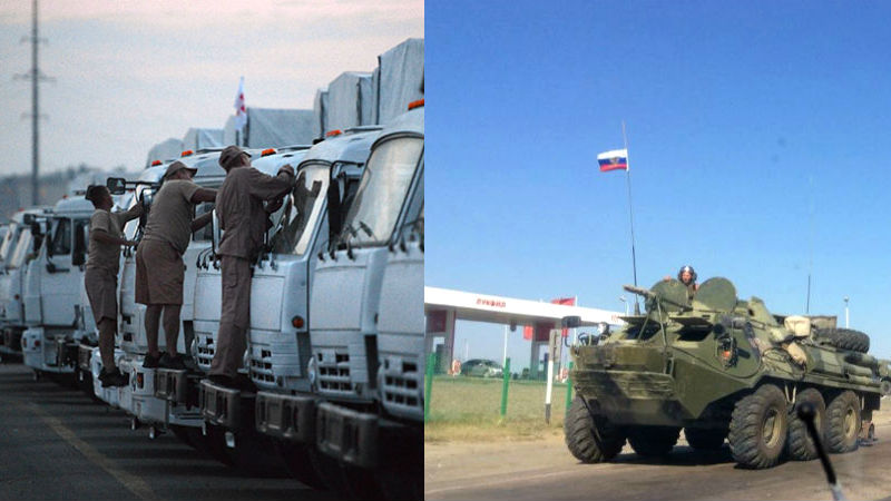As the humanitarian convoy lingers on the border, Russian APCs roll into Ukraine. Images mixed by author.
