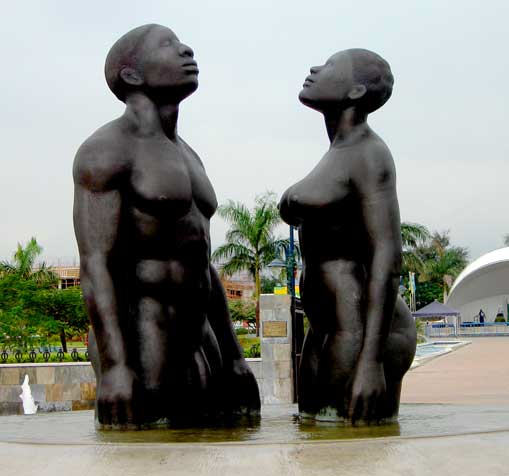 Statue at Emancipation Park, New Kingston, Jamaica; photo by Dubdem e FabDub, used under a CC BY 2.0 license.