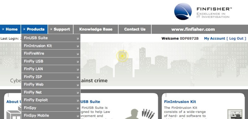 Screen capture of FinFisher homepage.