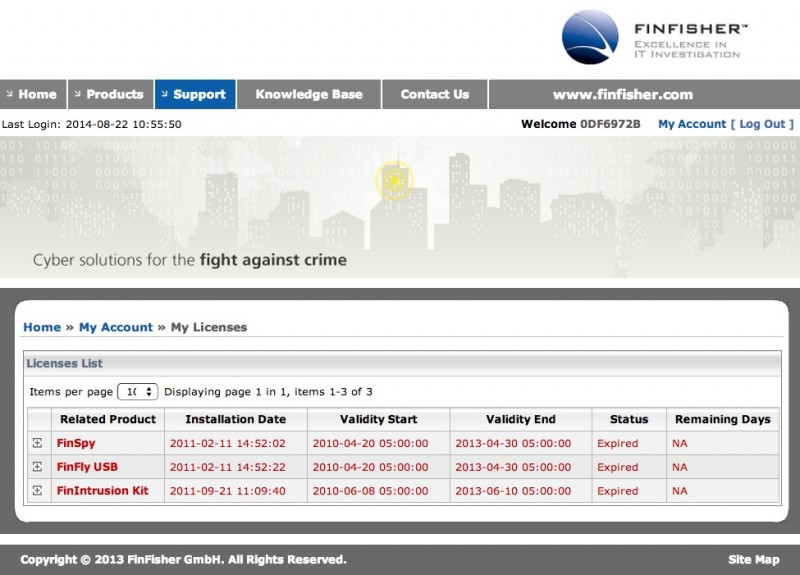 Screen capture of FinFisher license page.