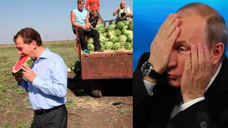 Dmitry Medvedev's Twitter snafu. Images mixed by Kevin Rothrock.