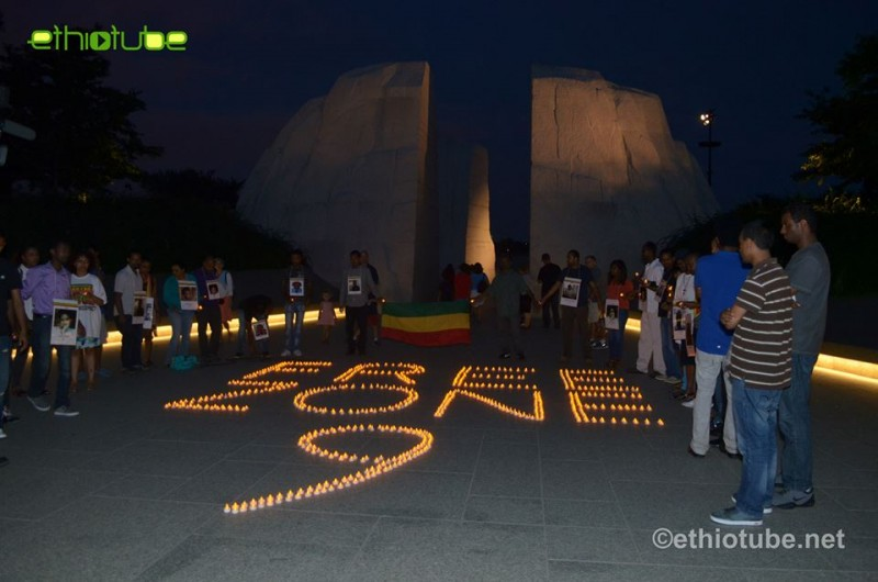 Free Zone 9 Vigil, August 2, 2014. Martin Luther King Memorial, Washington, DC. Photo by EthioTube via Facebook.