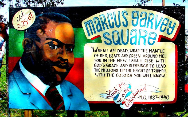 A depiction of Marcus Garvey; photo by Mark Gstohl, used under a CC BY 2.0 license.