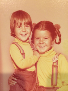 Christina and her brother with Mork & Mindy pins on their suspenders.  September 1979. Photo from author. Used with permission.