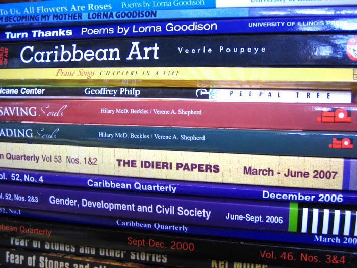 "Books from Jamaica, in which Veerle Poupeye's ""Caribbean Art"" is near the top of the heap. Photo by Nicholas Laughlin, used under an CC BY-NC-SA 2.0 license."