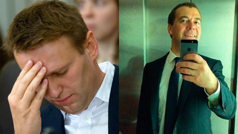 Alexey Navalny and Dmitry Medvedev are still the most popular bloggers, but RuNet users don't think too highly of them. Images mixed by author.