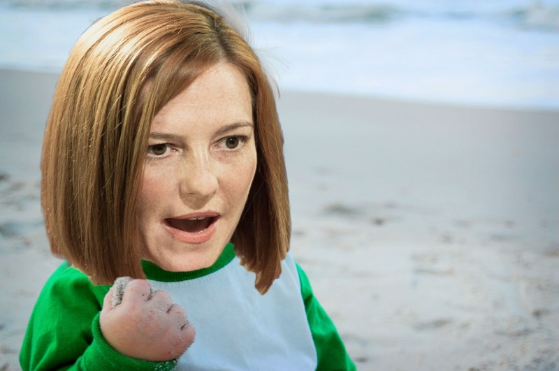 U.S. State Department Spokesperson Jen Psaki would seem to have inspired Russian trolls into a gaffe of their own. Images mixed by Kevin Rothrock.