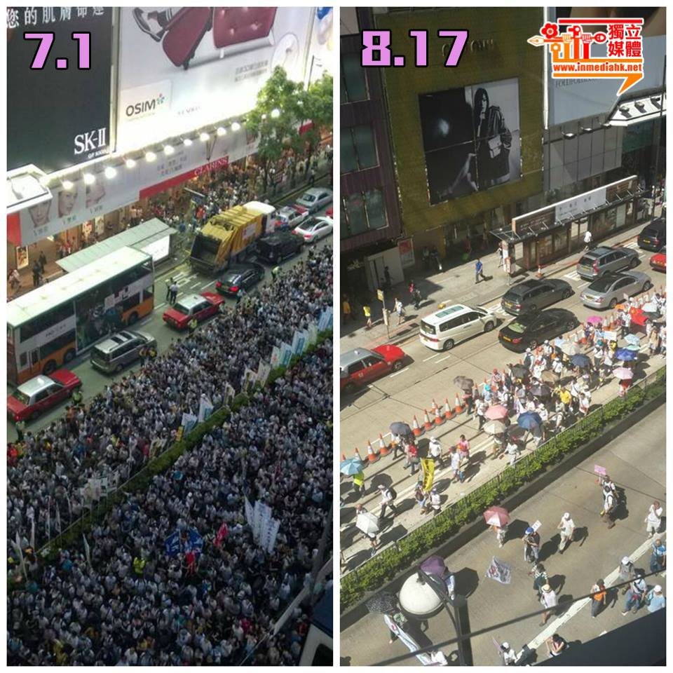 Photos comparing the number of protesters of the 2014 July 1 pro-democracy rally and 2014 August 17 pro-government rally. Photo from inmediahk.net's Facebook.