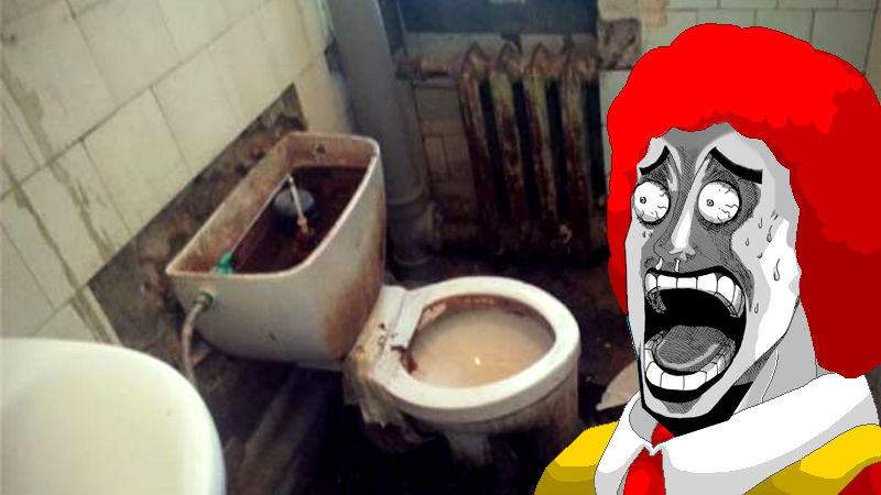 Ronald McDonald would probably be horrified at this dysfunctional bathroom at a Russian hospital. Images mixed by author.
