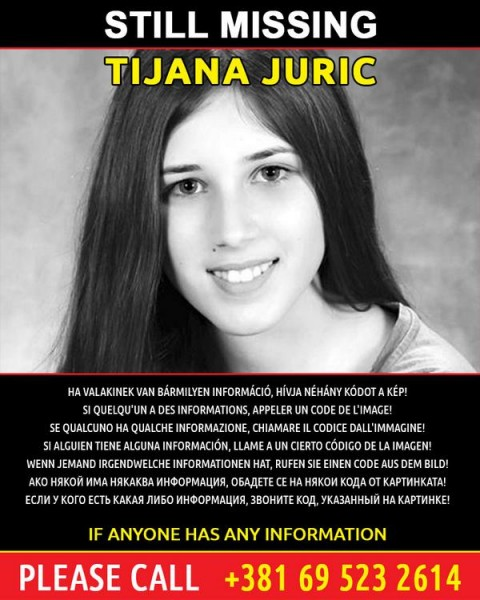 One of the posters that was circulated online and in several European countries during the search for Tijana Jurić, whose body was recovered Aug. 7, 2014 in a shallow grave near Belgrade.