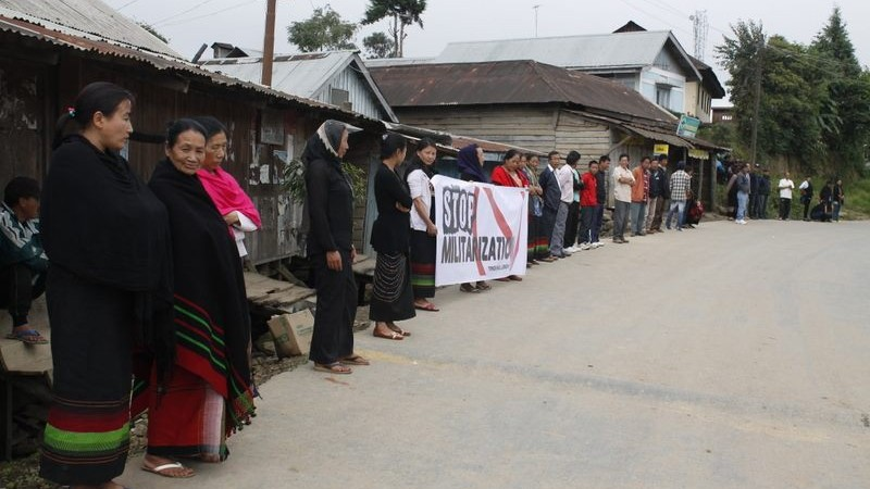 Protests to stop militarisation at Ukhrul. Image courtesy the Facebook page of the protest against Section 144