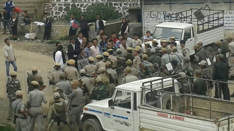 Protesters met with resistance by security forces.
