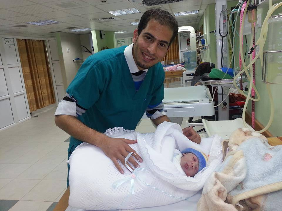"The image, shared on August 15, is captioned: ""This is the first baby to be delivered by me. His name is Mazen. The labor was under the supervision of Dr. Nashwa Skaik at al-Shifaa hospital. This is one of the greatest moments in my life."""