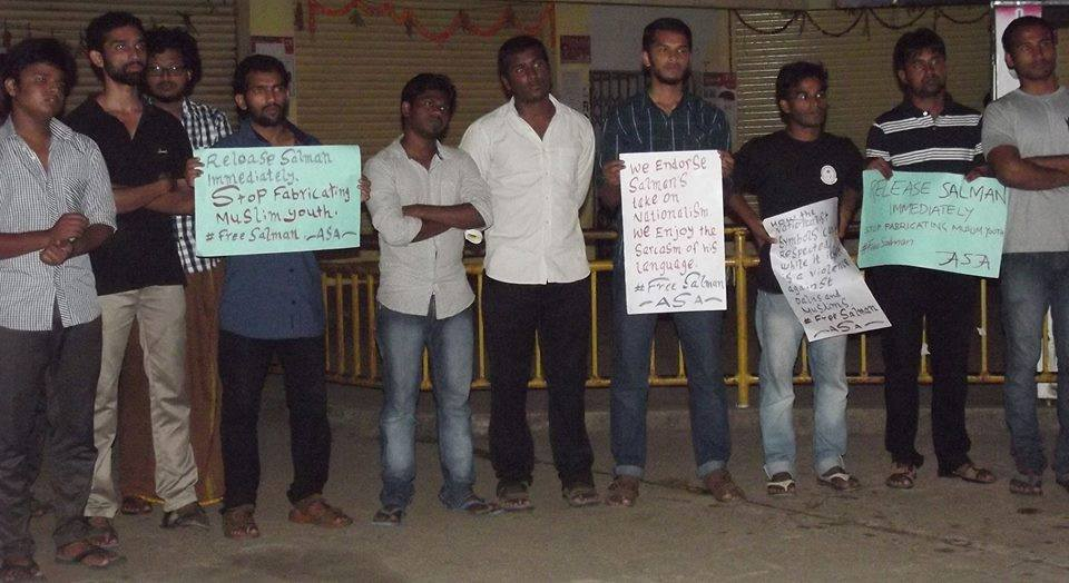 Students at HCU Hyderabad protesting the arrest of Salman. Used with Permission.