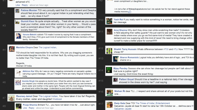 Collage of Facebook posts by supporting Deepika Padukone's bold response to TOI. Courtesy: The Logical Indian