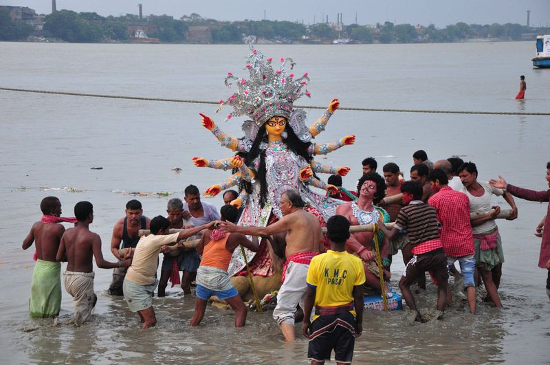 One of the idols of Devi Durga is ready for immersion on the Ganga river in Kolkata. Image by Suman Mitra. Copyright Demotix (14/10/2013)