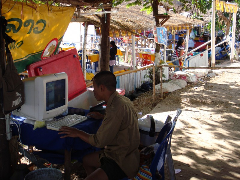 An Internet cafe in Laos. Photo from Flickr user Jon Rawlinson. CC License
