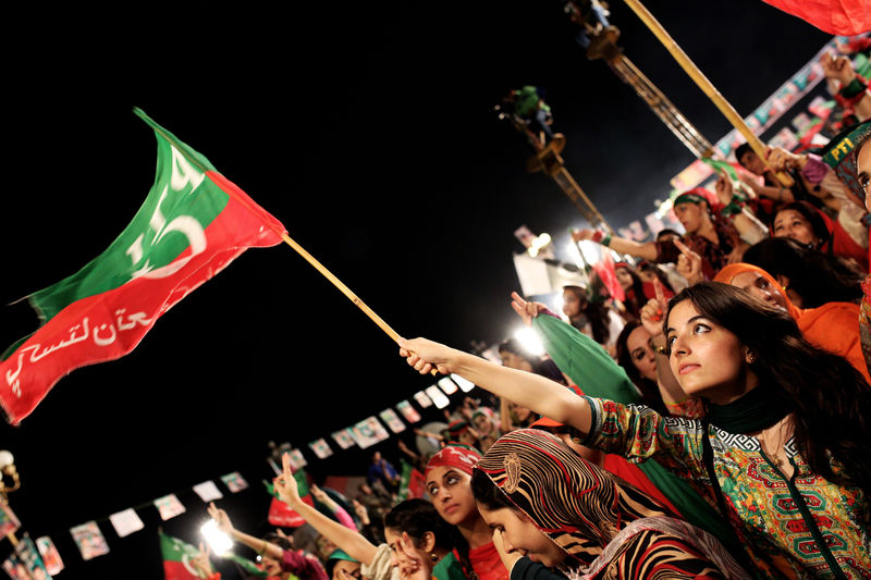 Pakistan Tehreek-e-Insaf supporters at D-Chowk aka Azadi Square in Islamabad. Image by Niaz Ali. Copyright Demotix (6/9/2014)
