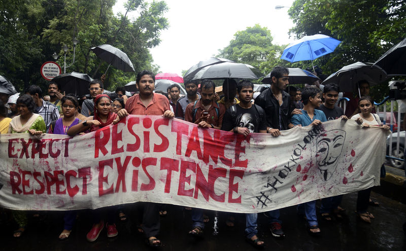 Jadavpur University student organise a rally from Nandan to Raj Bhavan protesting against Police midnight action at Jadavpur campus and also demanding the resignation of Vice Chancellor Abijit Chakraborty. Image by Reporter #47468. Copyright Demotix (20/9/2014)